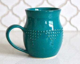 Extra Large Handmade Mug in Dark Teal - Geometric Dot Design - Hand Thrown 16 oz. - READY TO SHIP