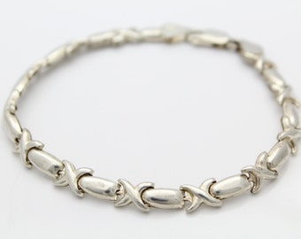 """Sterling Silver Puffy X Link Hugs and Kisses Bracelet Italy 7"""". [5365]"""