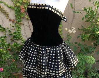 Robe de cocktail robe bustier en velours or vintage des années 80 Bari AJ couture taille XS S