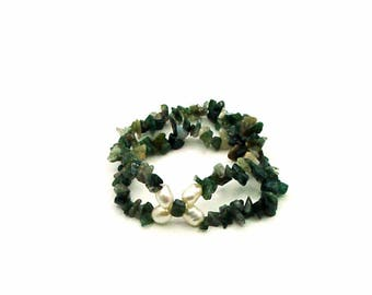 Moss agate bracelet and pearls