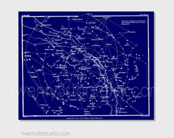 Customizable Vintage Constellation Star Map, Wall Poster Print, Sky Star Map in Custom Colors, Blue and White