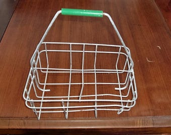 Vintage Wire Milk Bottle Carrier with Green Handle