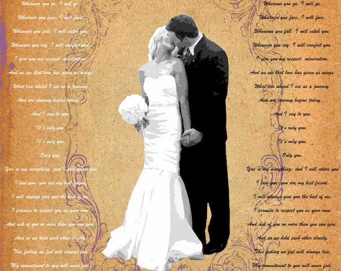 Word Art Song Lyrics Poem Wedding Vows Custom Gift Wall Art On Canvas 12x16