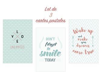 Set of 3 pastel format cards postcards