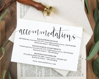 Accommodation cards, Wedding details card, Wedding enclosure card, Rustic wedding stationery, Printable wedding stationery, Invitation cards