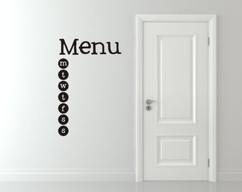 Menu Board Vinyl Wall Decal - Kitchen Wall Decal - Menu Board chalkboard vinyl decal - Kitchen organizing menu board vinyl wall decal