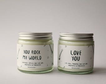You Rock My World Soy Candle | Gift for Fiance, Gift for Boyfriend, Gift for him, Personalised Gift, Anniversary Gift,