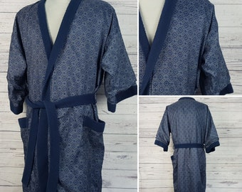 Vintage Anzio Bathrobe / Men's One Size Silk and Fleece Robe / A Full Length Smoking Jacket / Long Winter Soft