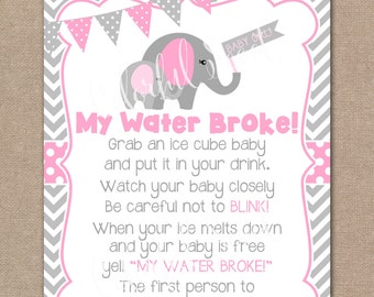 Perfect INSTANT DOWNLOAD, Elephant Baby Shower My Water Broke Game, My Water Broke,  Baby