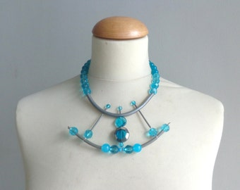 Turquoise crystal  rubber asymmetric statement necklace
