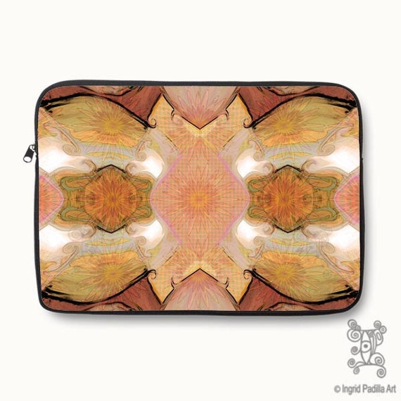 Boho, Bohemian, pink, orange, Floral, Neoprene, Laptop Sleeve, Macbook case, Laptop case, Laptop Cover, Ingrid Padilla, Abstract Art