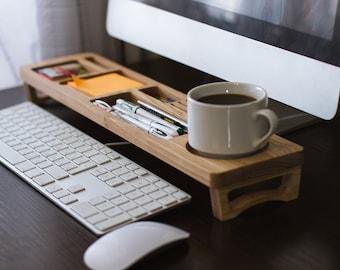 Oak Wood Desk Organizer Desk Accessories Personalized Office