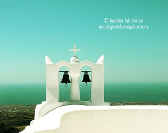 Greece Photography - Church Bells - Santorini - Wall Decor - Greek Mediterranean Fine Art Print