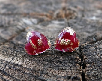 Real rose earrings resin earrings gold bridal earrings nature jewelry terrarium jewelry eco wedding jewelry heart studs heart earrings post