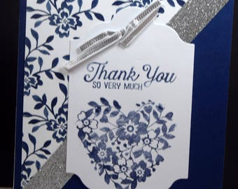Handmade Elegant Thank You card,  Thank You So Very Much, Floral Card, Floral Heart
