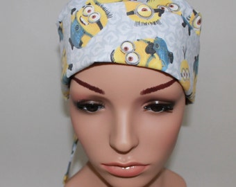 Chemo Style Hat,Minions, Gray, Surgical Scrub Hat,Vet Hat,Vet Tech, OR Scrub Tech Hat, Women's Scrub Cap, Biker Hat,Hat Envy Scrub Hats