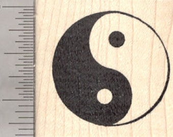 Yin Yang Rubber Stamp, Symbol Chinese Philosophy, Taoism D26839 Wood Mounted