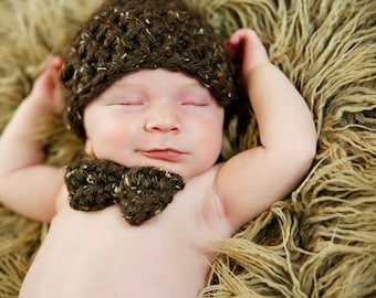 Chunky Newsboy Hat, Diaper Cover and Bow Tie Crochet Pattern
