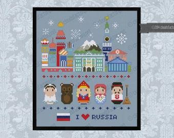 Russia icons - Mini people around the world - PDF cross stich pattern