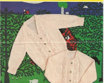 "PDF Emu Knitting Pattern #8662, 8Ply / DK, Sz20-23"" Lace Jacket Cardigans"