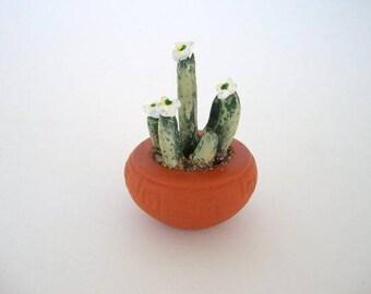 Cactus in a pot, miniature ceramic potted cactus