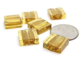 Mustard Gold Venetian Murano Glass Squares 15x15mm 4 pcs