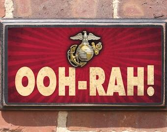 US Marine Corps Ooh-Rah! Wall Art Sign Plaque Gift Present Home Decor Vintage Style Antique USMC Semper Fi The Few The Proud Faithful