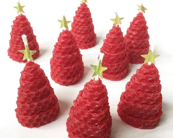 Christmas Favors Candles 8 Holiday Favors Christmas Favor Ideas Holiday Favor Ideas Christmas Tree Shaped Candles Green Party Favor Beeswax