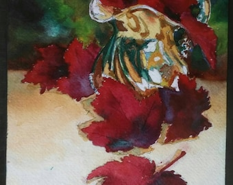 Silver Creamer Mounted Original Watercolor Painting 8 inches X10 inches Red Green Silver