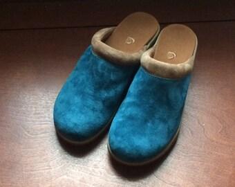 Rockin' Blue Suede Clogs  - Acorn Brand  - US Size 7