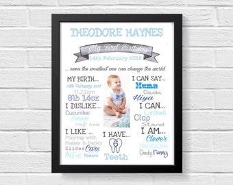 1st birthday print - custom photo and words