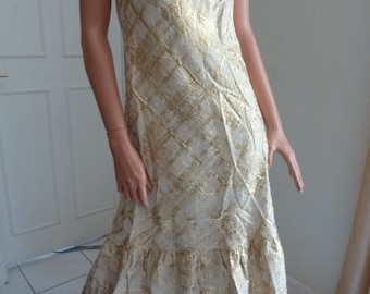 GOLD Metallic 1970s Halter Neck Maxi Boutique Martine M Nimes Debs Wedding Prom Glam French Seventies 70s