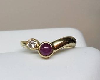 Vintage 14K Yellow Gold Ruby Diamond Ring