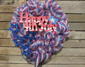 "24"" Patriotic Wreath- Fourth Of July Wreath- 4th Of July Wreath- Happy 4th Deco Mesh Wreath- Flag Deco Mesh Wreath- Star & Stripes Wreath"