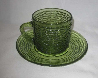 Neat Vintage Fire King Green Glass Cup Saucer Set