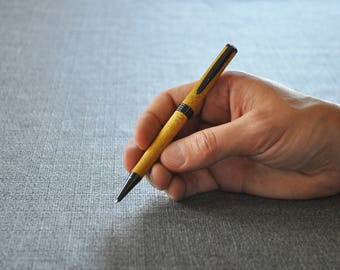 Wood Pen / Hand Turned Pen / Handmade Pen / Ballpoint Pen / Maple Pen / Yellow Heart Wood / Light Wood Pen / Gift for Him / Gifts for Dad