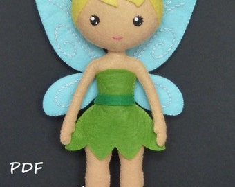 PDF sewing patern to make a felt Fairy.