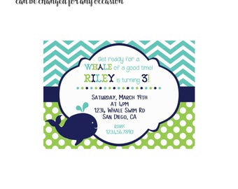 Whale Invitation 4x6 or 5x7 digital you print your own- Design 62
