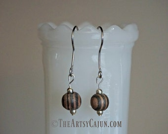 Essential Oil Diffuser Jewelry- Striped Amber Wood Minimalistic Earrings