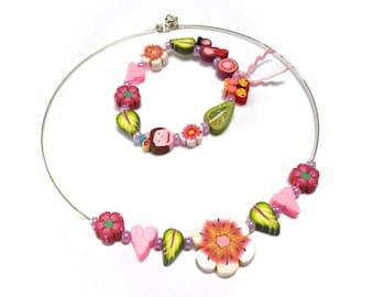 ENSEMBLE de cadeau bijoux filles, coeurs de fleurs roses, feuilles, Bracelet et collier, bijoux enfant, la Saint-Valentin ensemble cadeau pour fille, la princesse petite fille