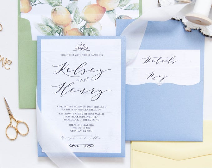 Back Pocket Wedding Invitation in Blue Green & Yellow w/White Wood and Lemons Inserts and Envelope Liner Different Envelope Liners Available