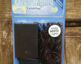 20 count Twinkling Teeny Bulb Lights Battery Operated Warm White LED Brown Cord