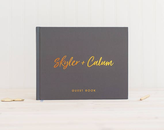 Wedding Guest Book landscape horizontal wedding book and Real Copper Foil wedding guestbook personalized gray hardcover instant photo booth