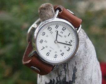 Timex-Leather Watch-Rugged Watch-Fossil-Leather Cuff-Big Watch-Custom Watch-Handmade Watch-Sundance-Rugged-Throwback-Bohemian-Fine Leather
