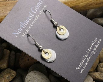 Aluminum and brass earrings on surgical steel ear wires