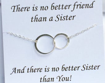 Sterling Silver Eternity double Ring Necklace , Double Circle Necklace, Sisters Necklace, Mothers Necklace, message card
