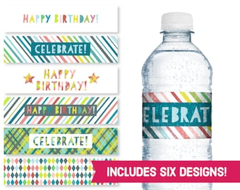 Happy Birthday Water Bottle Labels - Celebrate Birthday Party Supplies - Children's Birthday DIY Labels - Kids B-Day Party Printables S1180