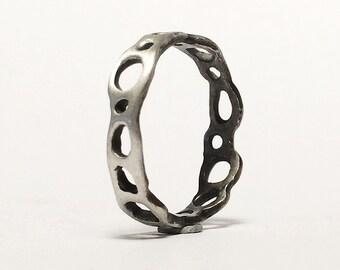Porifera Band - Cellular Structure Brutalist Ring - Sterling Silver - Handmade