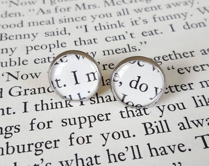 I Do Wedding Earrings - Stainless Steel - Bookish Earrings - Vintage Book Pages Paper Earrings - Bookish Jewelry - Librarian Earrings