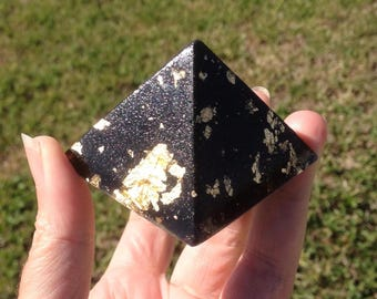 Small Gold, Black Tourmaline & Volcanic Sand Orgone Pyramid